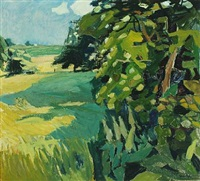 landscape with fields and tall trees by svend saabye