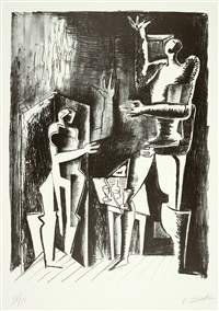 la forêt humaine, 10 lithographies originales (bk w/10 works) by ossip zadkine