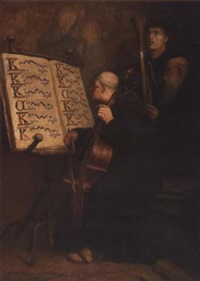 three monks playing liturgical chant by frederick william davis