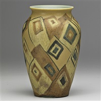 decorated mat vase with geometric design by wilhelmine rehm