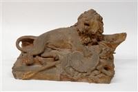 leone accovacciato con simboli militari (bozzetto) by ercole rosa