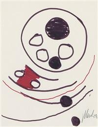 komposition mit schwarzen kreisen und rot by fritz winter