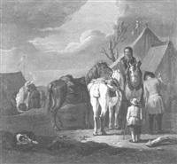 soldatenlager mit zelten, vor denen die gesattelten pferde stehen by sybrand van beest