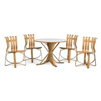 face off table and four ribbon chairs (5 works) by frank gehry