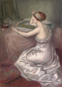 elegante femme au lit by charles varnier