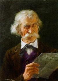 alter mann bei der zeitungslektüre by eugen lingenfelder