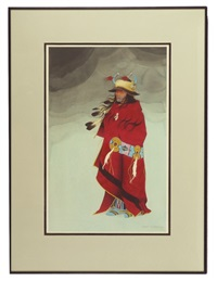 untitled (robed subject with blanket strip, horned bonnet, moccasins and leggings) by jerry ingram
