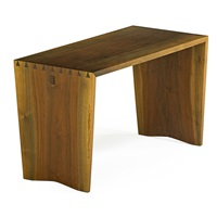 dovetailed side table in the style of a piano bench by george nakashima