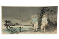 col saito disguised in korean dress reconnoiters the yalu shore with an interpreter (sato taisa kmpuku o chakusi tsuyakukan o shitagae oryakko no engan o teistsu zu)(triptych) by toshihide
