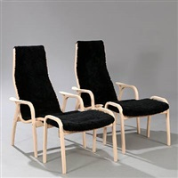 lamino easy chairs with matching footstools (set of 4) by yngve ekstrom