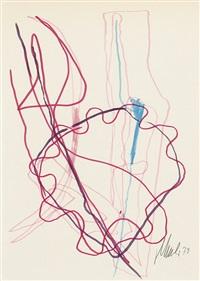 abstrakte komposition mit wellenlinien in rosatönen, türkis und schwarz by fritz winter
