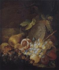 früchtestilleben vor einem stein mit dem reief eines mannes im profil by johann daniel bager