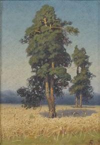 sommerliche feldlandschaft mit bäumen by georgiy zakharovich bashinzhagyan