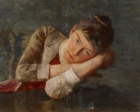 porträt der gattin des künstlers by ernst carl friedrich te peerdt