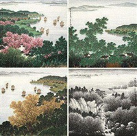 四季山水 (4 works) by tang zhixin