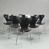 seven chair (model 3107) (set of 6 armchairs) by arne jacobsen