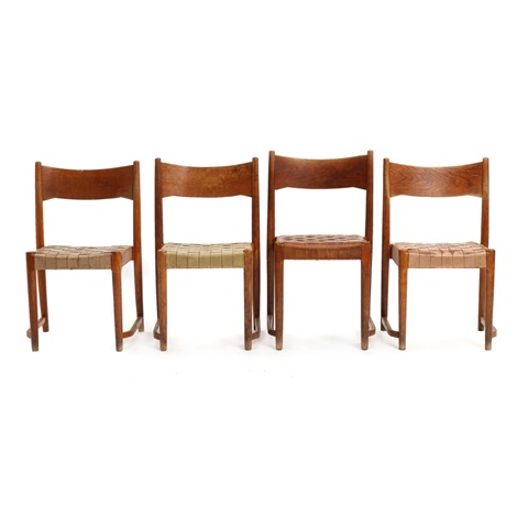 Four Oak Stacking Chairs With Light Braided Leather Webbing In Seats By  Hans J. Wegner