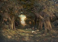 shepherd and sheep in the forest by leslie bainbridge