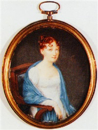 portrait of a seated lady wearing white dress and blue shawl by ferdinand machera