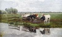 weidelandschaft mit kühen vor stadtsilhouette by hermann baisch