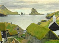 view from bøur towards tindhólm, the faroe islands by samuel joensen-mikines