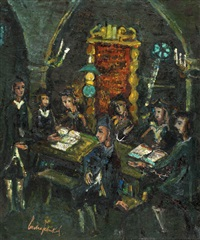 hassidim in the synagogue by boris borvine frenkel