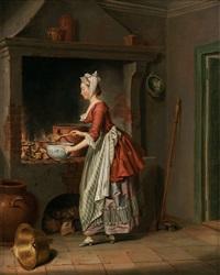 en piga höser såppa utur en kiettel - i en skål (a maid is pouring soup) by pehr hilleström