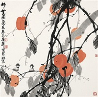 事事如意 镜心 设色纸本 (painted in 2005 persimmon) by liu chunhua