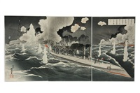 on the night of the 8th of feb, 1904, our brave fleet of torpedo oats fire on the russian squadron at port arthur and sank the enemy's three battleships. what a glorious success! (triptych) by toshihide