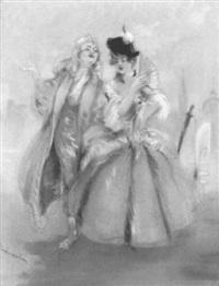paar in historischen kostümen vor venezianischer kulisse by louis morin