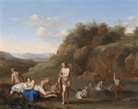 badende nymphen an einem fluss by johan van haensbergen
