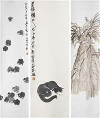 cat, chicks, birds and straw (3 works) by liu guowei