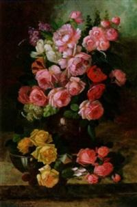sommerstrauß mit bunten rosen by josef brunner