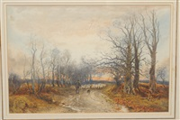 drover and shepherd with sheep on a country lane at sunset by william manners