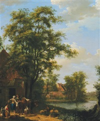 figures by a cottage by pietersz (pieter) barbiers