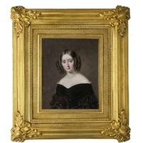 brustporträt einer jungen dame, frisiert nach der mode des biedermeier,bekleidet mit schwarzem, an den ärmen gerüschtem mieder by francois meuret