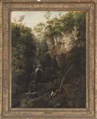 a figure felling a tree beside a waterfall by miller