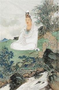 自在无碍观世音菩萨 镜心 设色纸本 by lin liangfeng