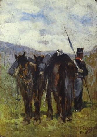 soldato con due cavalli by giovanni fattori