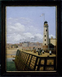 the lighthouse scarbro with cityscape in background by edward c. booth
