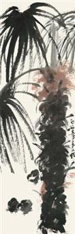 棕树稚鸡图 by qi liangsi