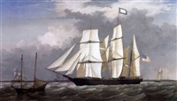 "a view off thatcher's island, gloucester, with the bark ""eastern star"" by fitz henry lane"