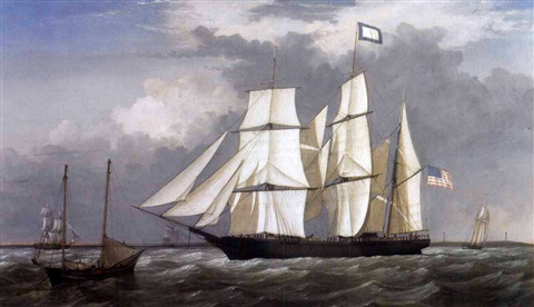 a view off thatchers island gloucester with the bark quoteastern starquot by fitz henry lane