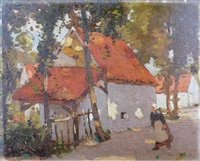 a breton woman on a tree-lined village street by john guthrie spence smith