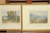 ploughing in the fells, westmorland (+ blenheim lake & park, oxfordshire; pair) by william manners