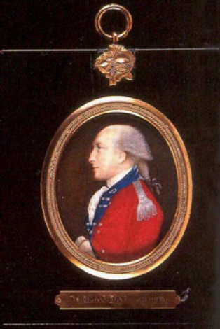 portrait of a cavalry officer in scarlet coat with bright blue facings and turned back lapels by thomas day
