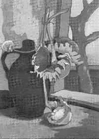 stilleben mit krug und sonnenblumen by fritz vahle