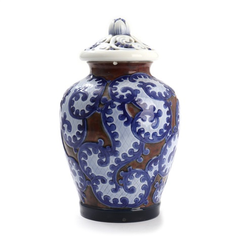 Bg Art Nouveau Porcelain Vase With Lid Decorated In Underglaze With