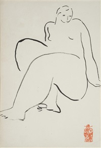 seated nude (nu assis) by sanyu