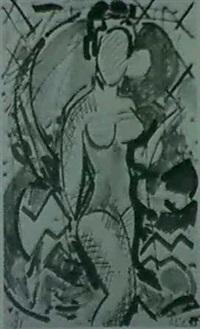 komposition mit stehender frau-gouache und kreidezeichnung by stefan szcezesny